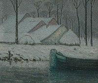 William Degouwe de Nuncques - Snowy landscape with barge.jpg