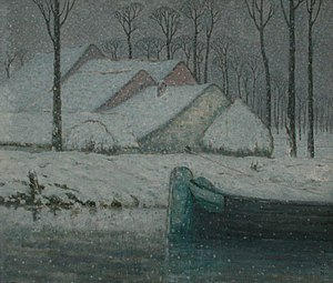 William Degouve de Nuncques - Snowy landscape with barge, 1911