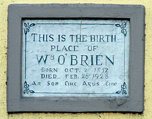 William O'Brien - Birthplace plaque, Thomas Davis Street, Mallow, Co Cork