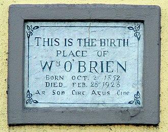 William O'Brien - Birthplace plaque, Thomas Davis Street, Mallow, Co Cork
