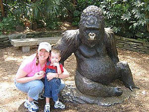 Zoo Atlanta - Families often pose with one of the Willie B. bronze statues at Zoo Atlanta.