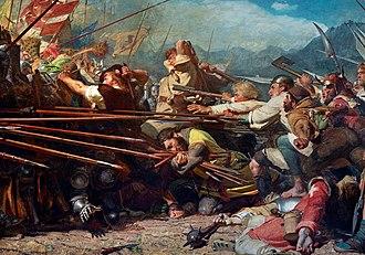 Arnold von Winkelried - 19th-century painting of Winkelried's deed by Konrad Grob.