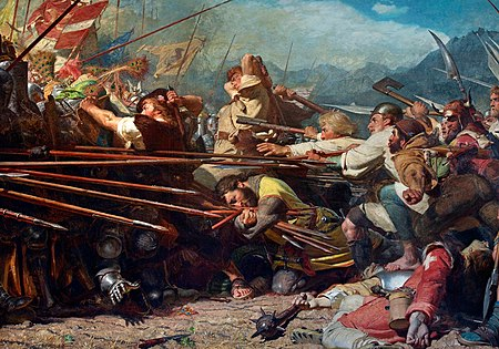 Romantic painting Winkelried at Sempach: Winkelried's deed in the Battle of Sempach. 19th century painting by Konrad Grob (1828 - 1904).