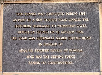 Wombeyan Caves Road - Plaque at end of tunnel on Wombeyan Caves Road