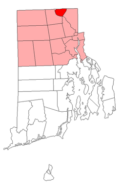 Location of Woonsocket in Providence County, Rhode Island