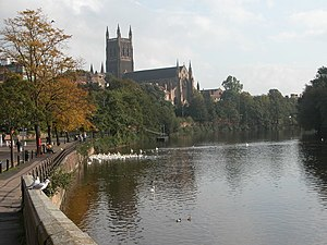 English: Worcester Cathedral and the River Sev...