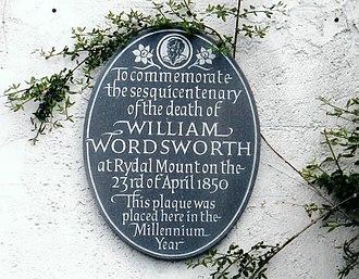 Rydal Mount - Image: Wordsworth Plaque