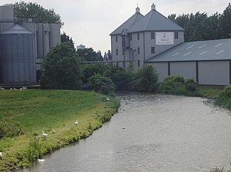 Ponders End - Wright's Flour Mill and the mill stream