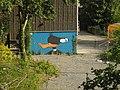 Wuppertal, Max-Planck-Str. 19, NW-Ecke, OLJA-Graffito Daffy Duck, Bild 1.jpg