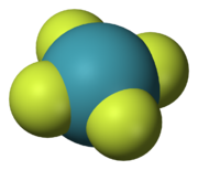 A model of planar chemical molecule with a blue center atom (Xe) symmetrically bonded to four peripheral atoms (fluorine).