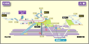Yagoto station map Nagoya subway's Meijo line 2014.png