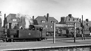 Yarmouth Beach railway station - Image: Yarmouth Beach railway station and engine shed 2091598 8957f 6b 8
