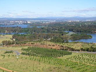 Yarramundi Reach - view of Yarramundi Reach with the National Arboretum Canberra in the foreground