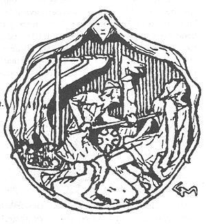 Ynglingatal - Gudrod's death. Vignette by Gerhard Munthe