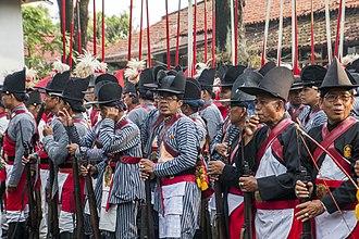 Yogyakarta Kraton Guards - The Kraton Guards just before a ceremony of Grebeg Maulud in the courtyard of Ngayogyakarta Hadiningrat Palace.
