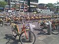 YouBike bicycles parking in Zhongxin Square 20120415.jpg