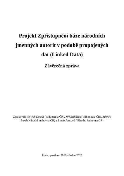 File:Závěrečná zpráva - Projekt Zpřístupnění báze národních jmenných autorit v podobě propojených dat.pdf