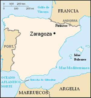 1987 Zaragoza Barracks bombing - Location of Zaragoza in Spain
