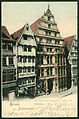 Zedler & Vogel PC 00430 1899 Gruss aus Hannover. Leibnizhaus. Bildseite koloriert, historische Gebäude Schmiedestraße Ecke Corvinusweg.jpg