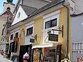 Zweiber yard. Listed (former dwelling) house ID 7373. Baroque, 18th c. 1st half. East. Signboard, confectionery. - 4, Görög St., Szentendre, Pest county, Hungary.JPG