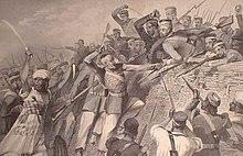 ३० जुलाई १८५७ को विद्रिहियों का रेडन बैटरी लखनऊ पर आक्रमण।