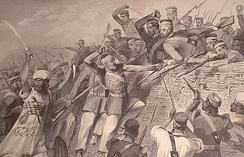 Attack of the mutineers on the Redan Battery at Lucknow, 30 July 1857.