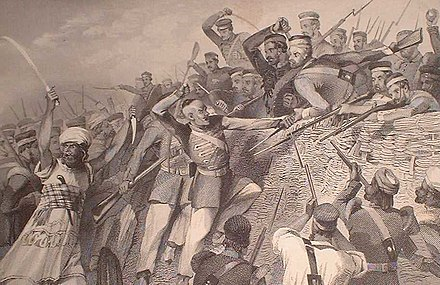 "Attack of the mutineers on the Redan Battery at Lucknow, 30 July 1857 ""Attack of the Mutineers on the Redan Battery at Lucknow, July 30th, 1857,.jpg"