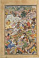 """Krishna and Balarma Fighting the Enemy"", Folio from a Harivamsa (The Legend of Hari (Krishna)) MET DT4803.jpg"