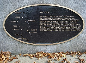 The Pale - Modern plaque near Ballymore Eustace marks the end of the Pale.