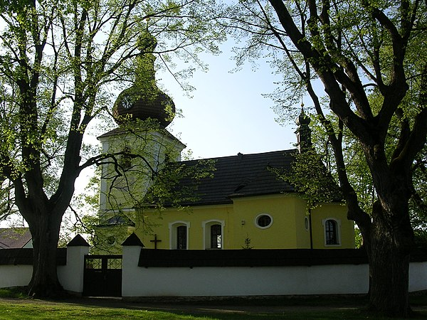 Typical Baroque church in the Czech countryside (St. Nicholas Church, Častrov).