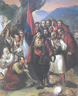 Second Serbian Uprising - The Uprising at Takovo , by Đura Jakšić, 1876–78.