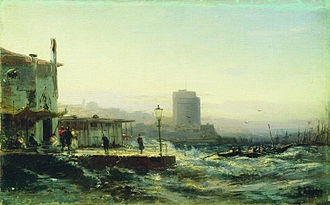 Baku - Painting of Baku's shoreline in 1861 by Alexey Bogolyubov.