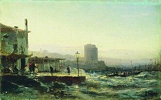 Baku - Painting of Baku's shoreline in 1861 by Alexey Bogolyubov.