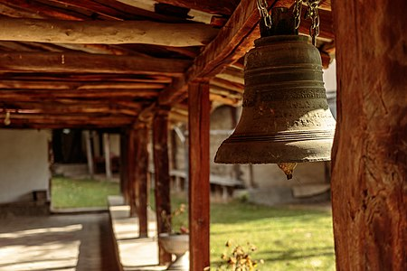 Bell hung on the narthex of the St. George's Church in the village of Budinarci, Macedonia