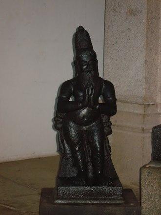 Tamil literature - Sage Agastya, Chairman of the first Tamil Sangam, Madurai, Pandiya Kingdom. Statue in Tamil Thai temple, Karaikudi, Tamil Nadu.
