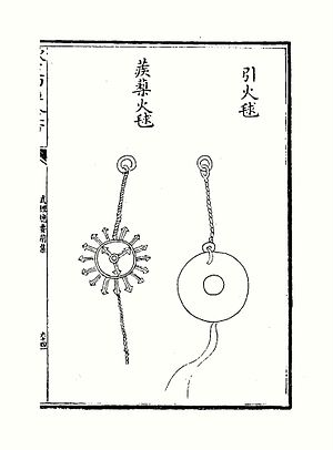 Wujing Zongyao - An 'igniter fire ball' and 'barbed fire ball' from the Wujing Zongyao.