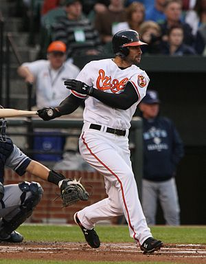 Nick Markakis - Markakis batting for the Baltimore Orioles in 2009
