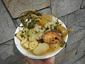 0099Nilagang repolyo, petsay Tagalog, kamote, patatas, kamatis at Pritong Dalag (Bulig) sa tanglad 32.jpg