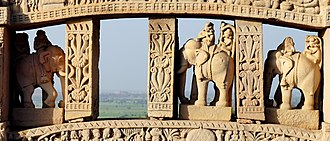 Vidisha - Relief of Men riding elephants at Sanchi Stupa of Vidisha