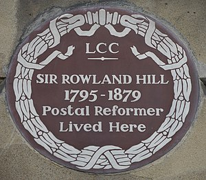 Rowland Hill - 1 Orme Square, commemorative plaque