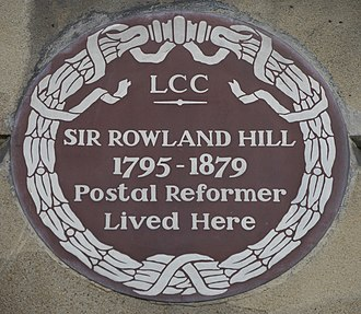 1–2 Orme Square - Rowland Hill plaque