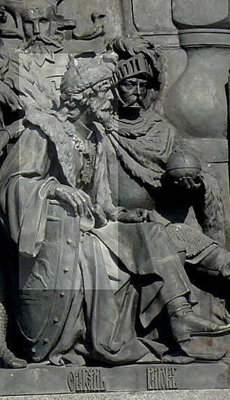 Algirdas - Algirdas (left) on the Millennium of Russia monument in Veliky Novgorod