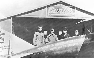 109th Airlift Squadron - Captain Raymond S. Miller prepares for the historic flight from St. Paul, Minnesota to Washington, D.C. in rented a Curtiss Oriole biplane, with plans for the first air unit of the post-World War I National Guard observation unit, 26 September 1920.