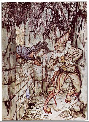 The Cask of Amontillado -  Montresor walling up Fortunato. 1935 Illustration by Arthur Rackham