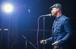 140218-F-VU439-229 Stokley Williams, Mint Condition lead singer, Transit Center at Manas, Kyrgyzstan, 2014.jpg