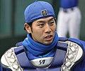 140323 Ichiro Matsushita, bullpen catcher of the Yokohama DeNA BayStars, at Seibu Dome.JPG