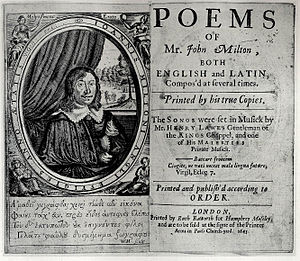 Milton's 1645 Poems - Titlepage to 1645 Poems, with frontispiece depicting Milton surrounded by four muses, designed by William Marshall