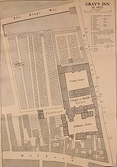 A copy of a 167 map of Gray's Inn. The map is a bird's eye view and shows the buildings, the walks and the surrounding roads
