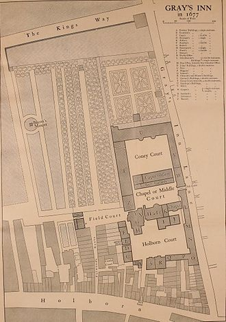 Gray's Inn - A 1677 map of Gray's Inn at Holborn.