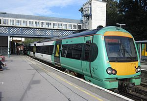 British Rail Class 171 - Southern Class 171/7, no. 171 727 at Lewes railway station, with a service from Brighton to Ashford International